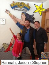 Hannah Jason and Stephen in the Marston Family Wonder Woman Museum